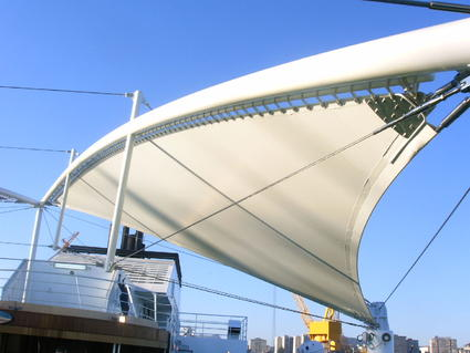 Fabric architecture for outdoor areas by ACS Production shade sails awnings canopies