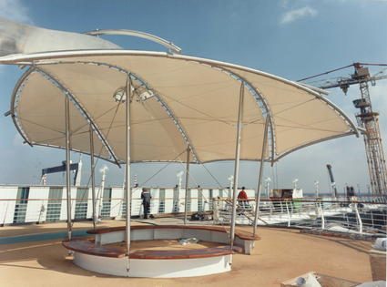 sun shade structure on cruise ship by ACS Production textile architecture awning canopy