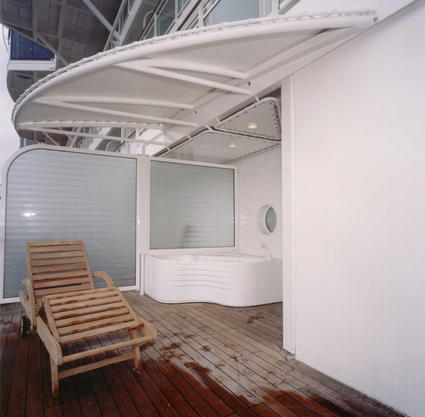 Fabric shade canopy for balconies by ACS Production stretched canvas awning