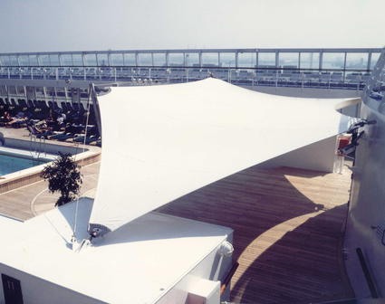 Stretched canvas structure for bandstand by ACS Production