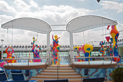 Sun shade canopy for Jaccuzi on cruise ship ACS Production textile architecture stretched canvas sun sail
