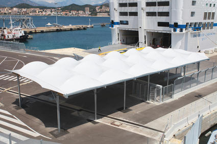 Stretched canvas structure welcome canopy for passengers to board cruise ships done by ACS Production