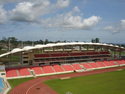 Tensile Fabric Structure, textile architecture, stretched membrane on a football stadium tribune in Equatorial Guinea by ACS Production